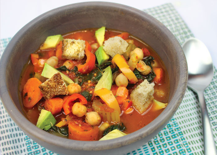 Hearty Tomato Soup with Sourdough Croutons and Avocado