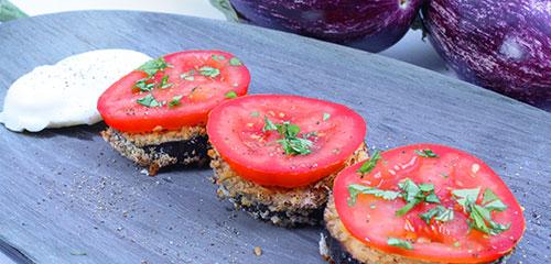 Breakfast Baked Tomato Eggplant